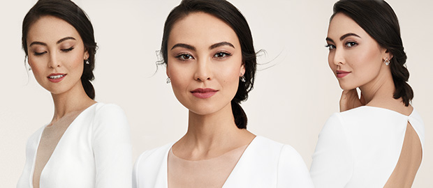 Three different close ups of a model wearing Polished Beauty bridal makeup look from Mary Kay.