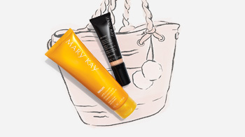 Mary Kay CC Cream Sunscreen SPF 15 and Mary Kay Sun Care SPF 50 Sunscreen styled with a tote bag illustration.