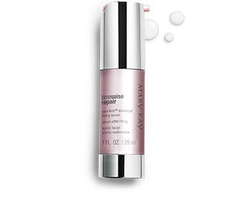 A tube of TimeWise Repair Volu-Firm Advanced Lifting Serum with accompanying product rubs.