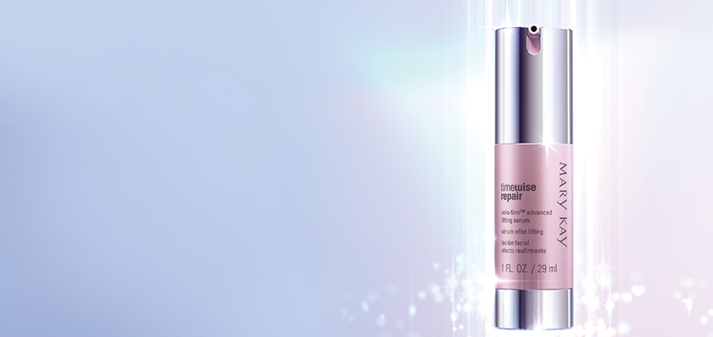 A beam of light illuminates the packaging of the new Mary Kay TimeWise Repair Volu-Firm Advanced Lifting Serum.