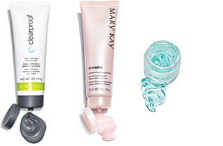 Three Mary Kay mask products with product swatches to show color and consistency.