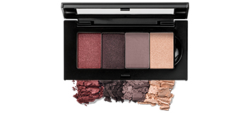 Limited-Edition Mary Kay Chromafusion Eye Shadow Bundle in Romance Revival placed in the Mary Kay Petite Palette and as loose crumbles.
